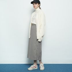 W327 mini checkered straight skirt navy