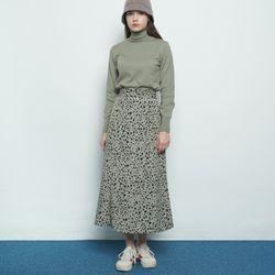 W327 leopard pattern skirt khaki