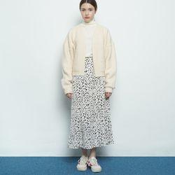 W327 leopard pattern skirt ivory