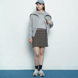 W327 checkered mini skirt brown