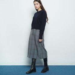 W327 big checkered skirt grey