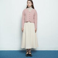 W327 basic autumn flared skirt cream