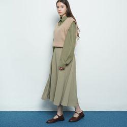 W327 basic autumn flared skirt khaki