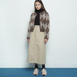 W119 cotton a line skirt beige