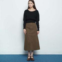 W119 cotton a line skirt brown