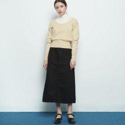 W119 cotton a line skirt black