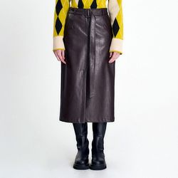 BELTED H-LINE FAUX LEATHER SKIRT - BROWN(ITEMLGIAXBP)