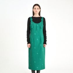 DICE EMBROIDERY OVERALL DRESS - GREEN(ITEM7LPUDMG)