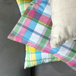 빈티지체크 쿠션 레인보우 유니크(50x30cm 솜포함)