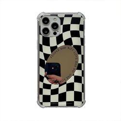 체커보드 미러 레터링 젤리 케이스 아이폰 전용12 13