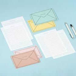 포포팬시 심플 레터 편지지 봉투 10세트