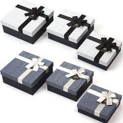 뭉구 유니크 리본 정사각형 선물상자 3종 세트