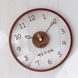 바나나공방 유리나무 입체로고주문제작 무소음벽시계 월넛