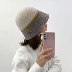 겨울  배색 울 벙거지 버킷햇 모자