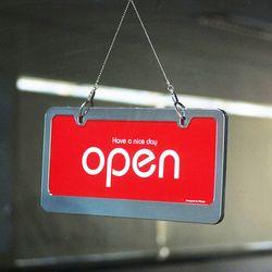 오픈클로즈 문패 영업중 안내 표지판 양면 스텐 팻말 빨강 7803
