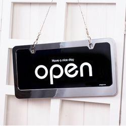 오픈클로즈 문패 영업중 안내 표지판 양면 스텐 팻말 검정 7802