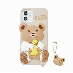 아이폰12 11 PRO MAX XS 8 허그 오리 곰 키링 케이스