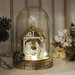 크리스마스 오너먼트 목자와어린양 우드유리돔 17cm