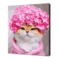 [명화그리기]4050 핑크 캡 고양이 25색 정물화 일러스트