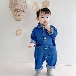 컬러풀 똑딱이 데님 유아 긴팔 우주복(73-100) 204505