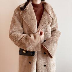여자 겨울 패션아이템 오버핏 부들부들 퍼 더블 롱코