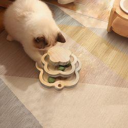 고양이 원목 토이볼 2단 꽃모양 캣닢볼 장난감 분리불안해소