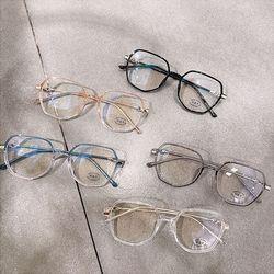 다각형 패션 안경테 얇은 투명 뿔테 안경 남자 여자