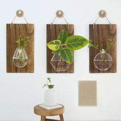 원목 벽걸이 수경재배 유리 화병