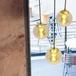 반디 3등 일자 원형 후렌지 펜던트 주방 인테리어 유리조명