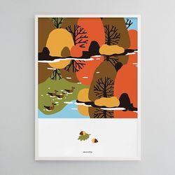 숲속의 가을 M 유니크 인테리어 디자인 포스터 A3(중형)