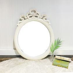 엔틱가구 화이트빈티지 리본 거울 엔틱벽거울
