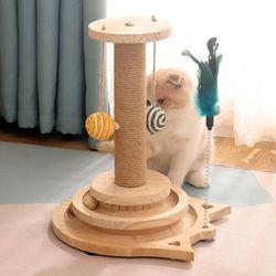 기둥형 스크래쳐 고양이 토이볼 공놀이 장난감
