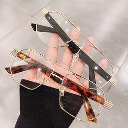 특이한 투브릿지 스퀘어 사각 얇은 검정 뿔테 안경테