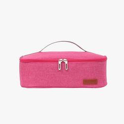 컴팩트 사각 보온보냉 도시락 가방(핑크)