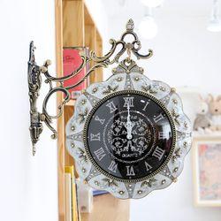 꽃장식 black 주물 양면시계 SSC-706