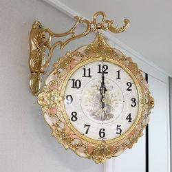 행운꽃 금도금 주물 양면시계 SSC-712
