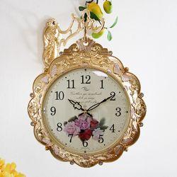 나비와 장미꽃 금도금 주물 양면시계 SSC-714G
