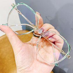 그라데이션 다각형 투명 패션 안경 코받침없는 안경테