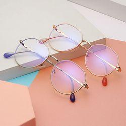 특이한 물방울 타원형 얇은 뿔테 패션 메탈 안경테