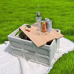 캠핑 폴딩 접이식 수납 박스 정리함 테이블 2color