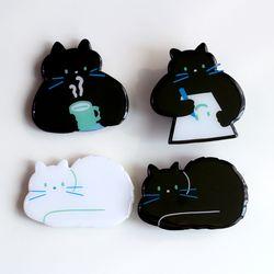 [입체 모양톡]  검정 고양이 4종  에폭시 워터 스마트 톡 그립