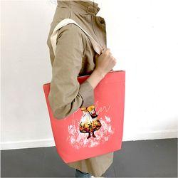 여행자 토끼-핑크 에코백-양면이 다른 디자인