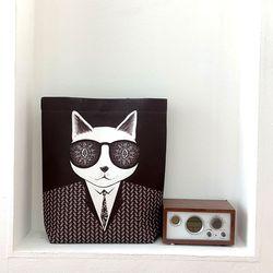 펀글래스 셜록-고양이 에코백 남자에코백