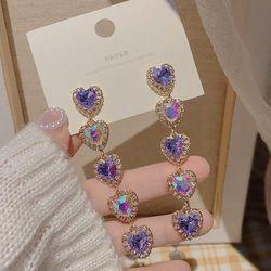 퍼플 하트 귀걸이 드롭 여성 브랜드 쇼핑몰 귀고리 데일리 롱