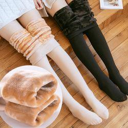 리어스 퍼 안감 따뜻한 겨울 레깅스 스타킹
