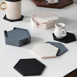 헥사곤 실리콘 컵받침 6P세트 홀더포함 (3colors)