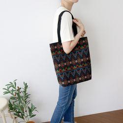 인디언 블랙 에코백 - 빈티지 패턴 가방