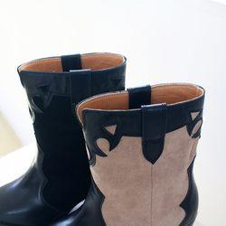 여성 가을 패션템 센스있는 배색 미들힐 뾰족코 앵클