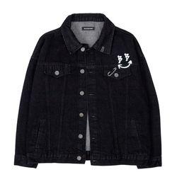 BLACKBLOND - BBD Smile Logo Denim Jacket (Black)(ITEMDSLW5Q5)