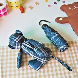 체크 곰돌이 파우치 우산